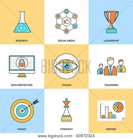 Modern line icons set in flat design for social media, e-business, web site development, mobile applications, banners, corporate brochures, book covers, layouts etc. Raster illustration