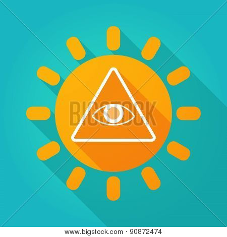 Long Shadow Sun Icon With An All Seeing Eye