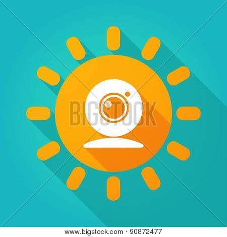 Long Shadow Sun Icon With A Webcam