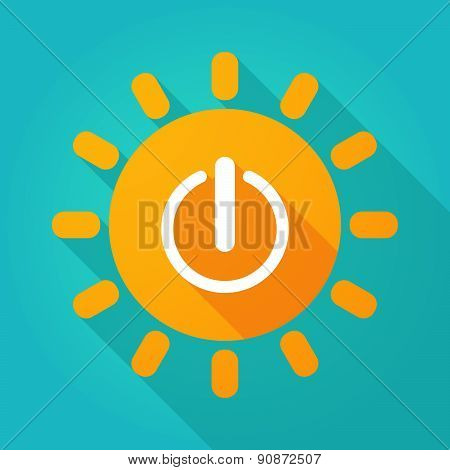 Long Shadow Sun Icon With An Off Sign