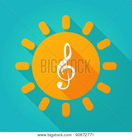Long Shadow Sun Icon With A G Clef