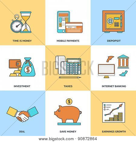 Modern financial line icons set in flat design for web site development, mobile applications, banners, corporate brochures, book covers, layouts etc. Raster illustration