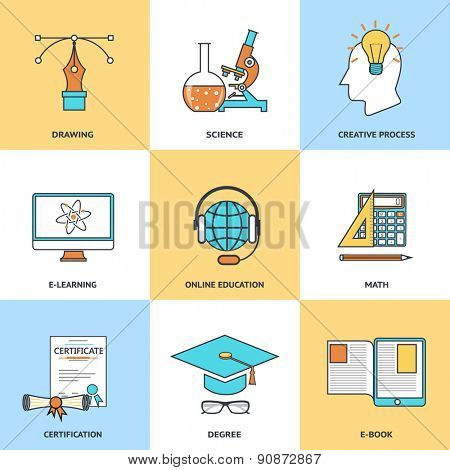 Modern education line icons set in flat design for web site development, mobile applications, banners, corporate brochures, book covers, layouts etc. Raster illustration