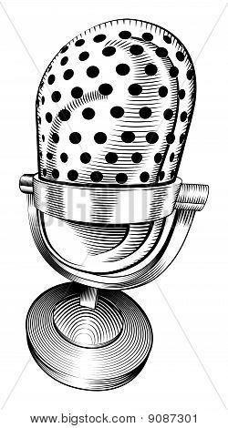 Microfone preto e branco