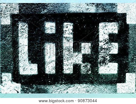 Social Media Networking Concept: Pixelated Sign With Like Text Word Isolated On Textured Background