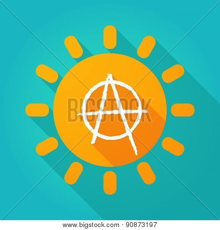 Long Shadow Sun Icon With An Anarchy Sign