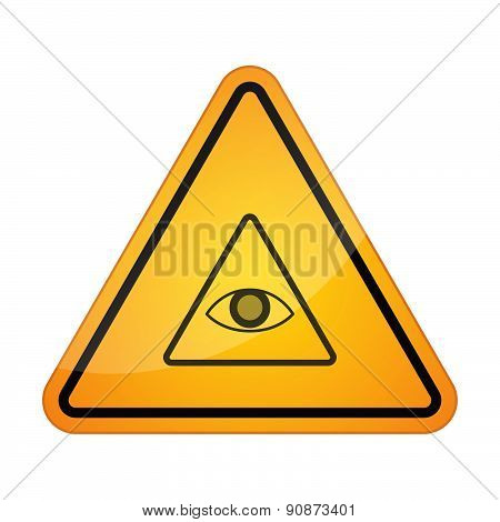 Danger Sign Icon With An All Seeing Eye