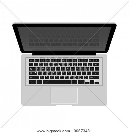 Detailed laptop isolated on white background for e-business, web sites, mobile applications, banners, corporate brochures, book covers, layouts etc. Raster illustration
