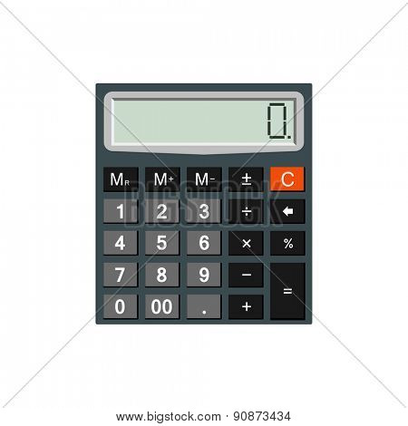 Detailed calculator isolated on white background for e-business, web sites, mobile applications, banners, corporate brochures, book covers, layouts etc. Raster illustration