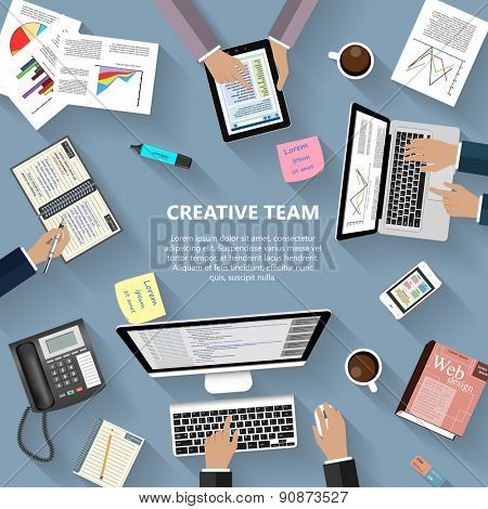 Modern flat design creative team concept for e-business, web sites, mobile applications, banners, corporate brochures, book covers, layouts etc. Raster illustration