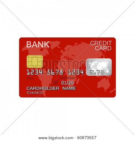 Detailed credit card isolated on white background for e-business, web sites, mobile applications, banners, corporate brochures, book covers, layouts etc. Raster illustration
