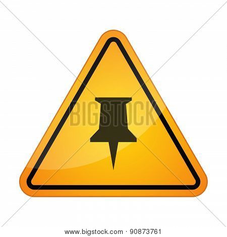 Danger Sign Icon With A Push Pin