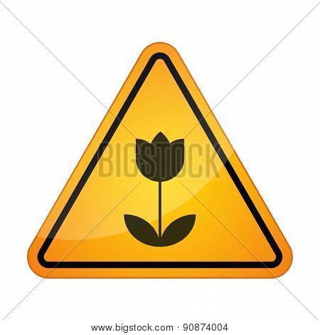 Danger Signal Icon With A Tulip