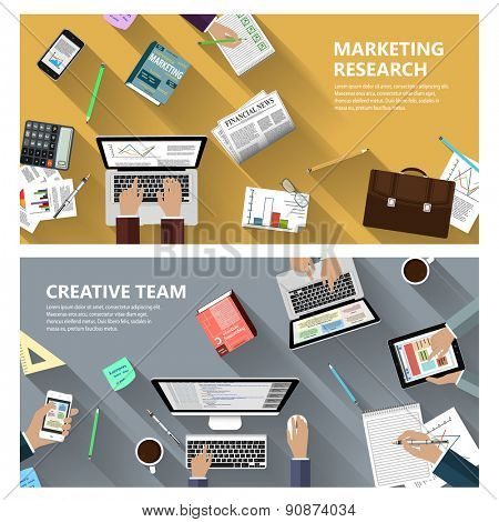 Modern flat design marketing research and creative team concept  for e-business, web sites, mobile applications, banners, corporate brochures, book covers, layouts etc. Raster illustration