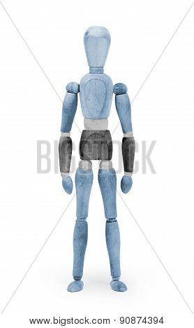 Wood Figure Mannequin With Flag Bodypaint - Botswana