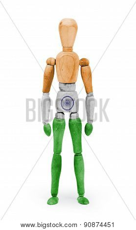 Wood Figure Mannequin With Flag Bodypaint - India