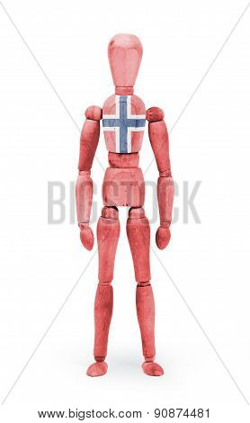 Wood Figure Mannequin With Flag Bodypaint - Norway