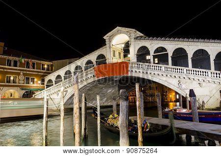 Canal Grande and Rialto Bridge at night, Venice