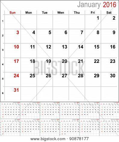 Vector calendar for 2016