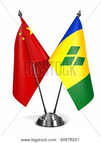 China, Saint Vincent and Grenadines - Miniature Flags.