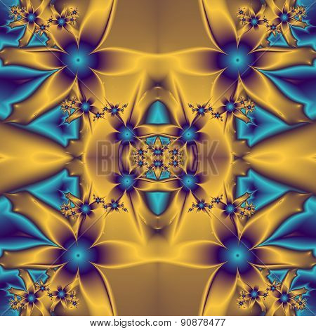 Flower Pattern In Fractal Design. Blue And Gold Palette.