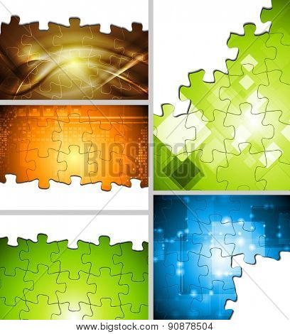 Set of abstract bright illustrations. Raster art puzzle backgrounds