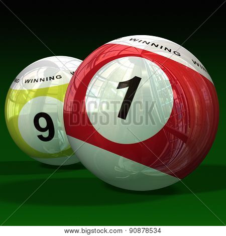 Billiard balls on green background