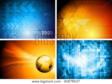 Abstract tech geometric bright backgrounds. Raster design set