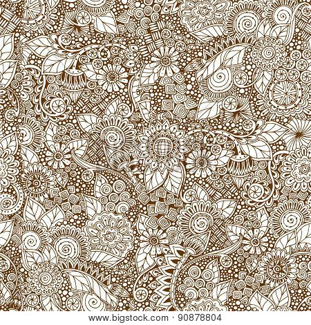 Seamless floral retro doodle grunge  pattern in vector.