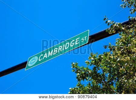 Boston Cambridge street sign in  Massachusetts USA