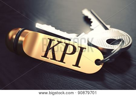 KPI - Bunch of Keys with Text on Golden Keychain.
