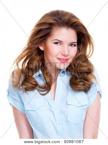 Portrait of a beautiful young smiling woman in blue shirt  isolated on white background.