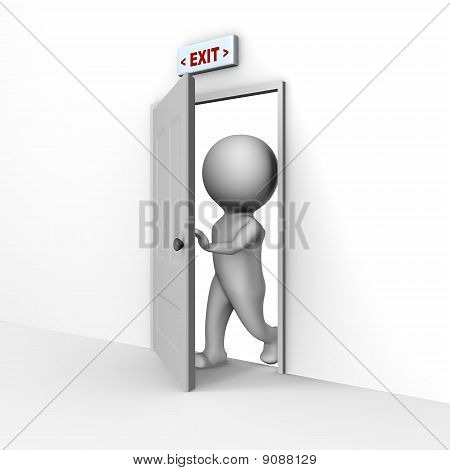Human entering through the door - a 3d image