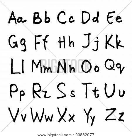 handwritten ABC alphabet with leaf