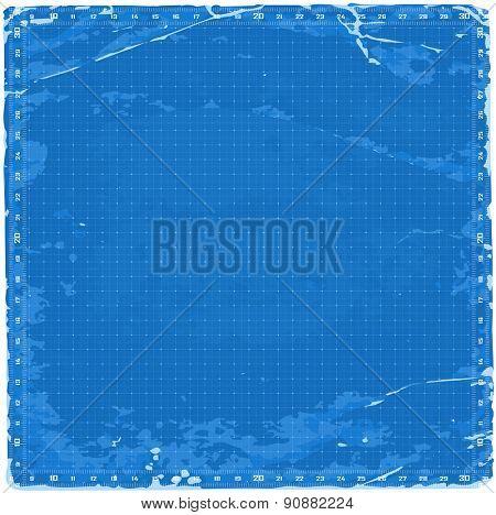 Blueprint background - grids & old paper texture / vector illustration / eps10