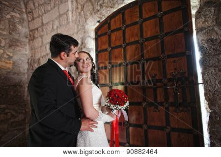 Wedding Couple In The Castle Near The Old Gate