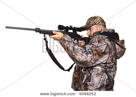 Hunter Aiming A Rifle