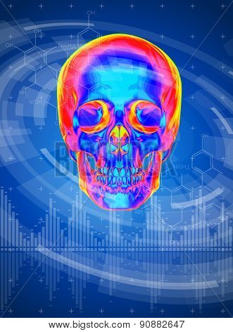 technology background - thermal skull print