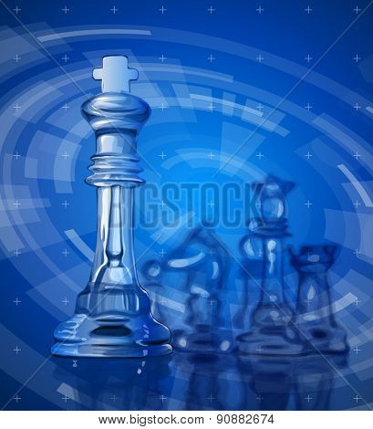 Transparent chess pieces on the mirror surface and a blue background