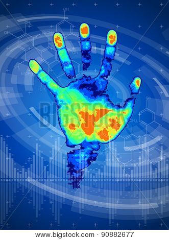 technology background - thermal hand print