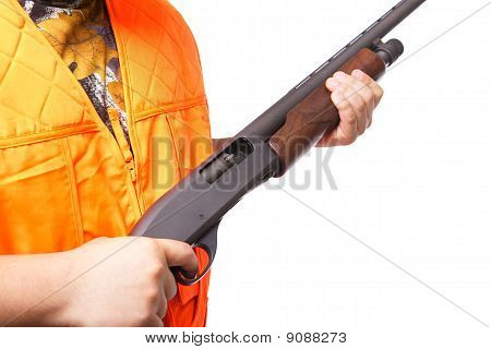 Hunter Holding A Shotgun