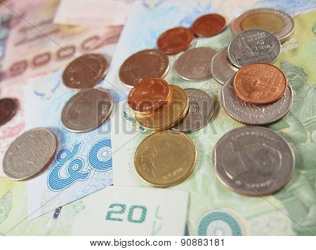 Coins on banknotes, Baht Thai Money Background