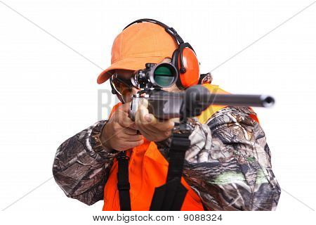 Hunter With A Rifle In Your Face