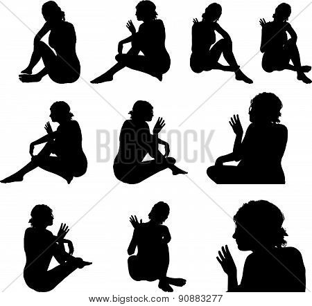 Woman Silhouette With Hand Gesture Hey