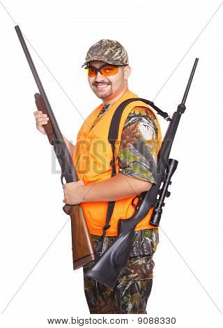 Hunter With Shotgun And Rifle