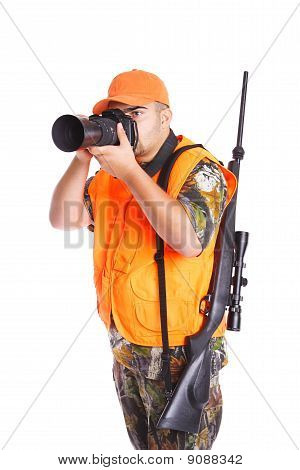 Hunter With Rifle And Camera