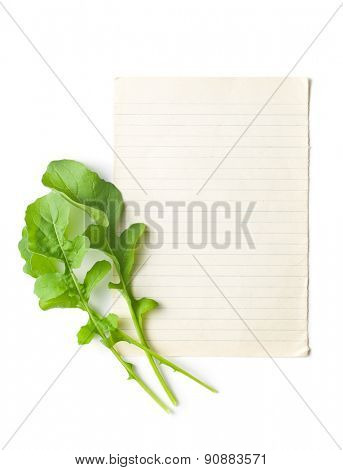the arugula leaves with blank paper