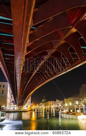The Constitution Bridge at night, Venice