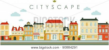 City panorama street background in flat style