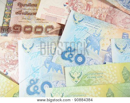 Piled Banknotes of Thai Baht Money Background